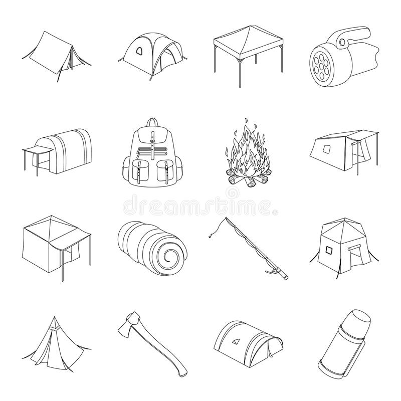 Various kinds of tents and other tourist accessories. The tent set collection icons in line style vector symbol stock. Illustration stock illustration