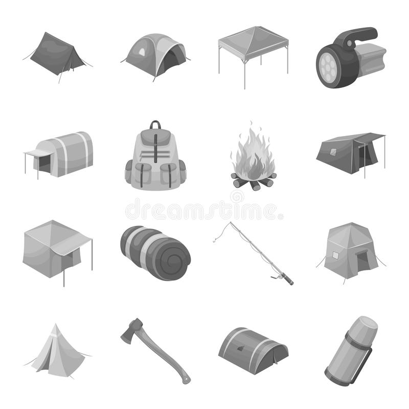 Various kinds of tents and other tourist accessories. The tent set collection. Stock illustration royalty free illustration