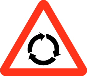 Traffic sign of Bangladesh: Warning for a roundabout