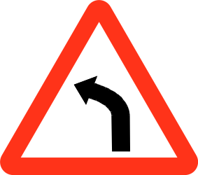 Traffic sign of Bangladesh: Warning for a curve to the left