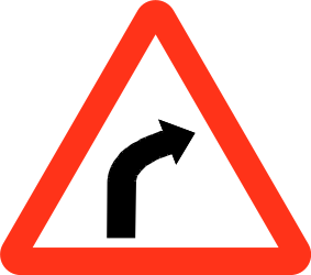 Traffic sign of Bangladesh: Warning for a curve to the right