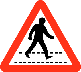 Traffic sign of Bangladesh: Warning for a crossing for pedestrians