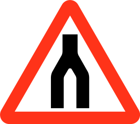 Traffic sign of Bangladesh: Warning for two roads that merge