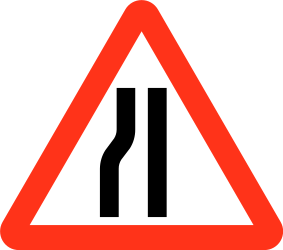 Traffic sign of Bangladesh: Warning for a road narrowing on the left