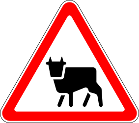 Traffic sign of Russia: Warning for cattle on the road
