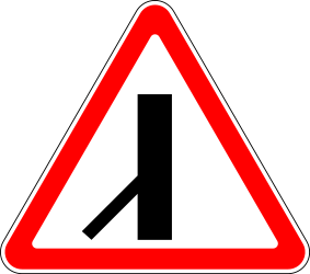 Traffic sign of Russia: Warning for a crossroad with a sharp side road on the left