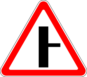 Traffic sign of Russia: Warning for side road on the right