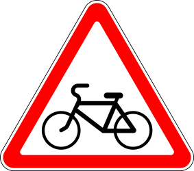 Traffic sign of Russia: Warning for cyclists