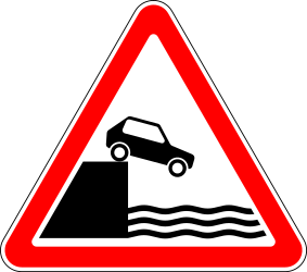 Traffic sign of Russia: Warning for a quayside or riverbank