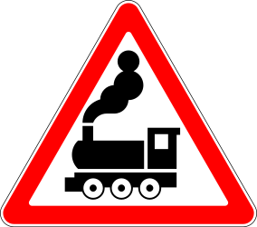 Traffic sign of Russia: Warning for a railroad crossing without barriers