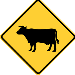 Traffic sign of United States: Warning for cattle on the road