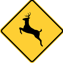 Traffic sign of United States: Warning for crossing deer