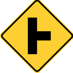 Traffic sign of United States: Warning for an uncontrolled crossroad with a road from the right