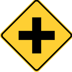Traffic sign of United States: Warning for an uncontrolled crossroad