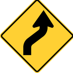 Traffic sign of United States: Warning for a double curve, first right then left