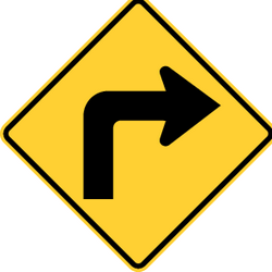 Traffic sign of United States: Warning for a sharp curve to the right