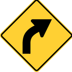 Traffic sign of United States: Warning for a curve to the right