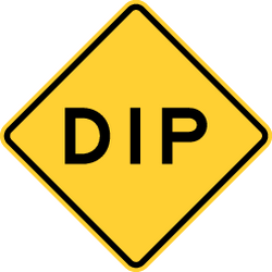 Traffic sign of United States: Warning for a dip in the road