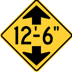 Traffic sign of United States: Warning for a limited height