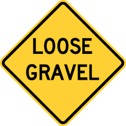Traffic sign of United States: Warning for loose chippings on the road surface