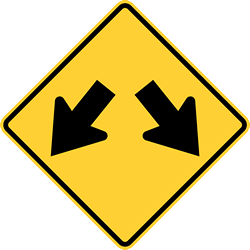 Traffic sign of United States: Warning for an obstacle, pass left or right