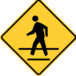 Traffic sign of United States: Warning for a crossing for pedestrians