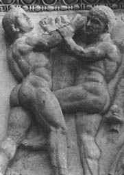 Pankratiasts portrayed on a Roman relief. 2nd or 3rd Century A.D.