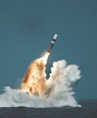Trident II SLBM launched by ballistic missile submarine