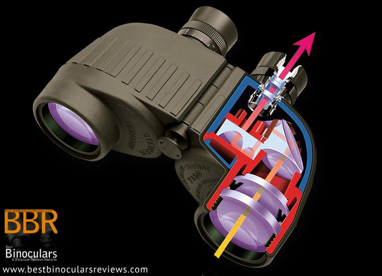 Light Traveling through a pair of Steiner porro prism binoculars