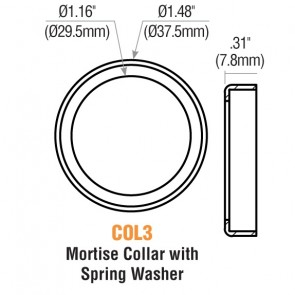 "1/4"" Mortise Cylinder Collar (Satin Chrome) w/ Spring Washer -by GMS"