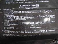 Italian Special Combat Food Ration Description